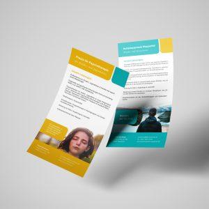 Fliegende Flyer vorn und hinten mit unterschiedlichen Motiven als Geschäftsausstattung