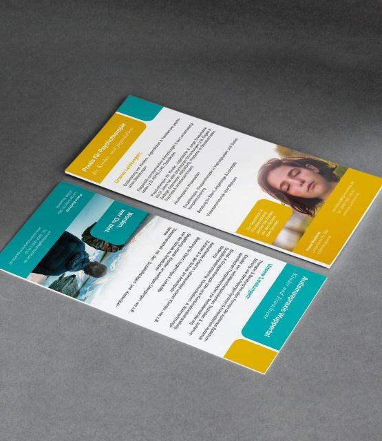 Flyer vorn und hinten mit unterschiedlichen Motiven als Geschäftsausstattung